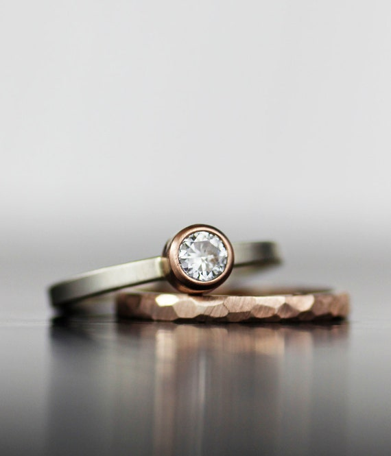 Wedding ring set - rose gold, stacking, alternative moissanite and gold engagement bands, unique wedding set - his and hers - ecofriendly