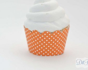 Orange and White Polka dot Cupcake Wrappers -  Set of 24 - Standard Size