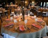 "10 Overlays, size 72""x72"" - Rustic Burlap Table Overlays, Burlap Table Squares - Rustic Wedding Decor, Shabby Chic Wedding Table Decoration"