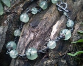 Pale Green Woodland Prehnite -Oxidized Silver Toggle Bracelet by  Quintessential Arts