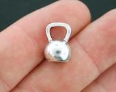 4 Kettlebell Charms Antique Silver Tone 3D Medium Size - SC3908