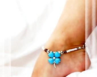 Southwestern Flower of My Heart Anklet Turquoise Ankle Bracelet Fusion Copper Silver Ankle Bracelet