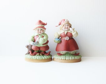 1984 Enesco Garden Gnome Collectible Figurines - Vintage Elfin Woodland Elves -  Odd Quirky Kitsch Decorating Ceramic Figurines