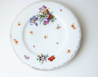Czechoslovakia China Plate - Vintage Serving Plate - Chop Plate - Colorful Pattern - Spring Flowers - Iris Rose Tulip Poppy - Large Plate