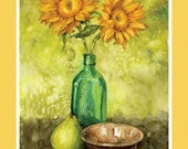 Still Life with Sunflowers blank notecard featuring painting by Kathleen Rietz