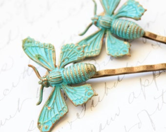 Butterfly Bobby Pins Insect Hair Pins Teal Blue Patina Brass Woodland Wedding Garden Bridal Hair Accessories Wings Rustic Bridesmaids Hair