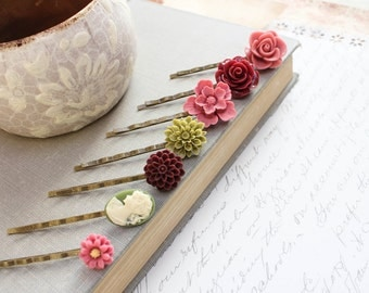 Flower Bobby Pins Floral Hair Accessories Lady Face Cameo Dusty Rose Pink Burgundy Wine Chrysanthemum Olive Green Hair Slides Birthday Gift