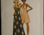 Butterick 3129 Misses Halter Dress in 2 Lengths Vintage 70s Sewing Pattern Sz 12