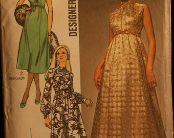 Simplicity 9118 Misses Evening Gown or Special Occasion Dress Vintage 70s Sewing Pattern Sz 12 or 14