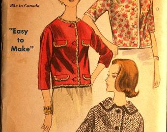 Vogue 5903 Misses Box Jacket Vintage 60s Sewing Pattern Sz 12
