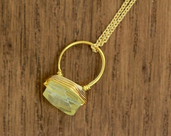 citrine gemstone necklace, delicate, dainty, gold plated, gemstone necklace, wire wrapped, artisantree