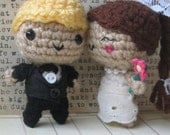 Customized Bride and Groom Cake Toppers  (you choose hair color/ flower color etc.)