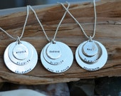 Multiple Disc Necklace- Sterling Silver- Personalized - Great Gift - Maid of Honor and Bridesmaids Matching Necklaces - Wedding, Shower Gift