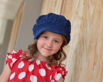 Crochet Kid's Hat, Cotton Newsboy Hat, Toddler Girl Hats, Crochet Hat for Toddlers, Cotton Hat for Girls, Hat, Womens Hats, Fall Accessories