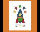 Reach for the Stars Rocket Ship Cross Stitch Pattern -  PDF File - Instant Download