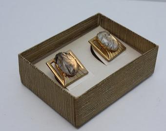 Vintage Confetti Cufflinks Black Gold Lucite