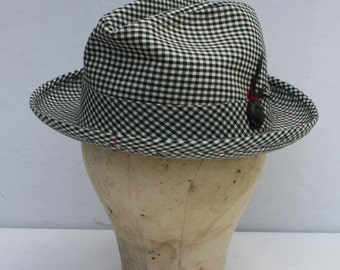 Vintage Fedora Hat Black And White Checkered Houndstooth Unisex Size 7