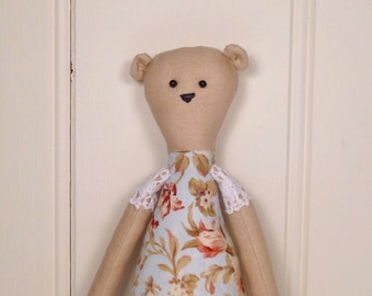 Cottage Bear - Rag Doll Style - Blue Floral