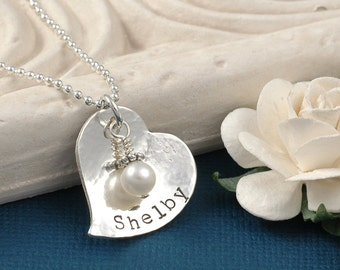Personalized Heart Necklace - Hand Stamped with Birthstone or pearl