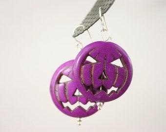 Purple Halloween Pumpkin Earrings Day of the Dead Dia de Los Muertos Red Rojo Howlite Pumpkin earrings Sterling Silver French Wires