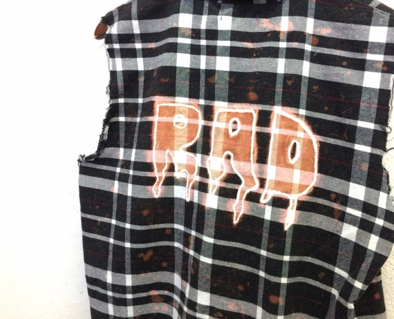 rad plaid shirt black white flannel sleeveless bleached