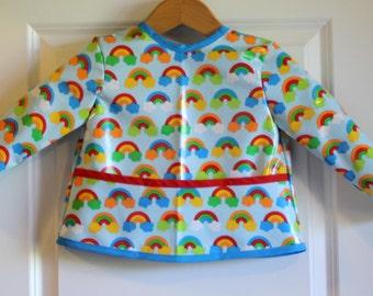 Toddler Baby Waterproof Long Sleeved Art Smock Baby Bib in Blue with Rainbows