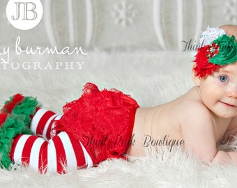Christmas Leg Warmers and Headband set. Baby Headband and Leg Warmers.Shabby Chic Headband,Baby Girl Headband and Leggins set.