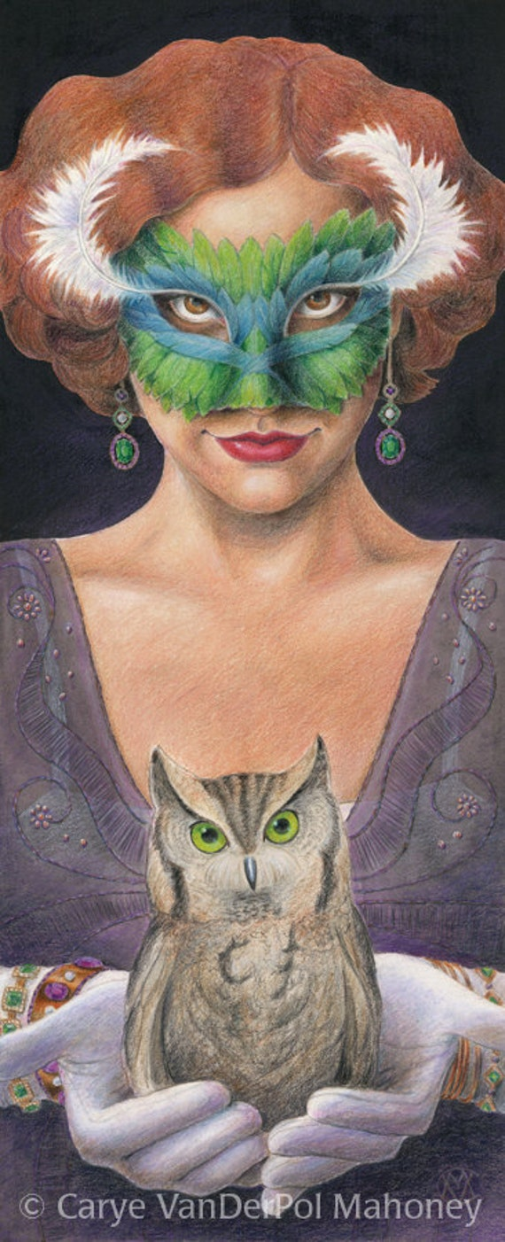 "1920s mysterious flapper woman with teal blue and green feather mask and small owl - Art Reproduction (Print) - ""Masque"""
