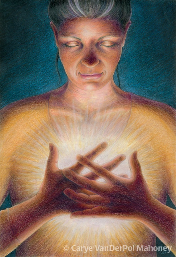 """Surreal image of a woman in quiet contemplation, her hands are clasped over a bright glow in her chest - Art Reproduction (Print) - """"Spark"""""""