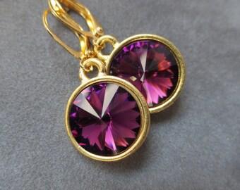 Gold Amethyst Earrings, February Birthstone Jewelry, Purple Amethyst Drop Earrings, February Birthstone Earrings, Birthday Gift