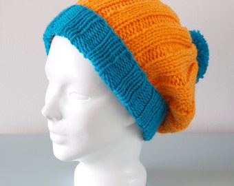 Orange Beanie Hat - Blue Knitted Slouchy Pom Pom Chunky Merino Wool Unisex Winter Accessory Gift for Him Gift for Her by Emma Dickie Design