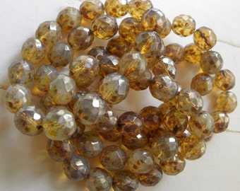 Faceted Round Beads, Champagne Opalite with Picasso Finish, Czech Glass, 12mm, Full Strand 15