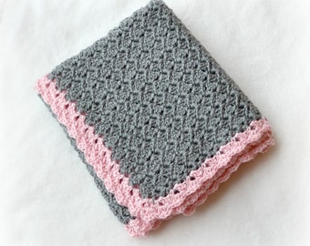 Crochet Baby Blanket Shell Stitch Stroller/Carseat/Travel Blanket - Heather Grey/Soft Pink - MADE TO ORDER