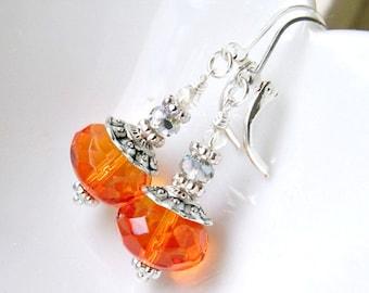 SALE 20% off sparkly pumpkin spindles silver leverback earrings, czech glass beaded earrings, autumn, orange