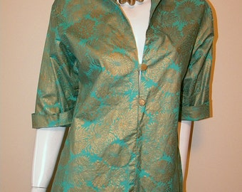 Ladies 60s Vintage Tunic Blouse Turquoise & Gold Print