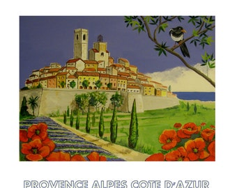 Saint-Paul-de-Vence, French Riviera, Red poppies, France Mediterranean, Original Travel Poster  Illustration Wall Art, Free shipping in USA.