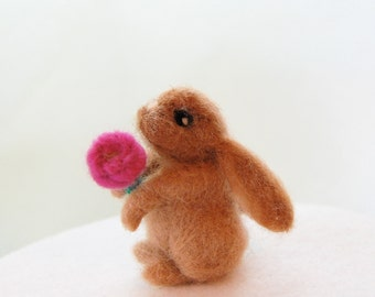 Needle Felted Bunny. Needle Felted Animals. Miniature Animal. Needle Felted Rabbit. Felted Bunnies. Gift For Flower Girl. Kid Toy