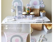 Pink Elephant Baby Shower Decorations Printable - Girl Elephant Baby Shower Decor - Pink and Gray Baby Shower Decorations - Instant Download