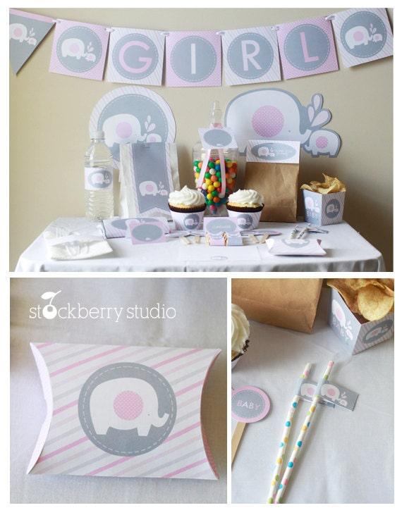 pink elephant baby shower decorations by stockberrystudio on etsy