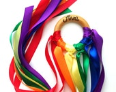 Waldorf Hand Kite PERSONALIZED, Rainbow Maker Whirligig, WALDORF Toy Ribbon Streamer