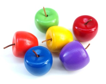 Rainbow Wooden APPLES, Waldorf Toy Color, Counting, Sorting