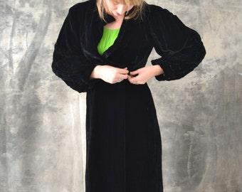 Edwardian Black Velvet Opera Coat