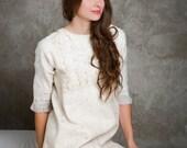 Boho felted tunic dress light frey, mini dress white ivory creame, autumn fall fashion, wedding bridesmaid, size S-M