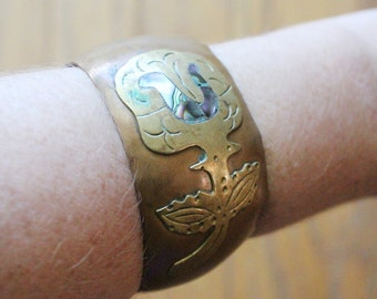 Vintage 60's Mexican Brass and Copper Flower Abalone Inlaid Cuff Bracelet