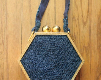 Antique 30's Electric Blue Knit and Gold Engraved Hexagon Art Deco Purse
