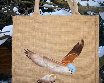 Kestrel bird of prey falcon jute bag hand painted hover