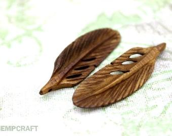Bone Feather Pendants, 2pc, Natural Bone Pendant, Brown, 40x11mm