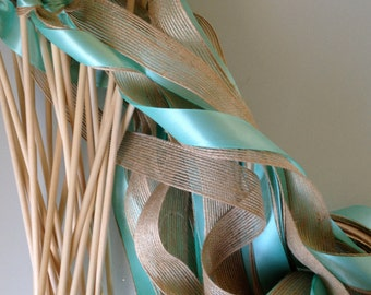 50 Triple Ribbon Wedding Wands Lace and Burlap Jute Ribbon Bells Streamers Birthday Party Gold Silver