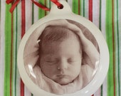 Baby's First Christmas Custom Ornament with your Baby's Photo and Birth Stats