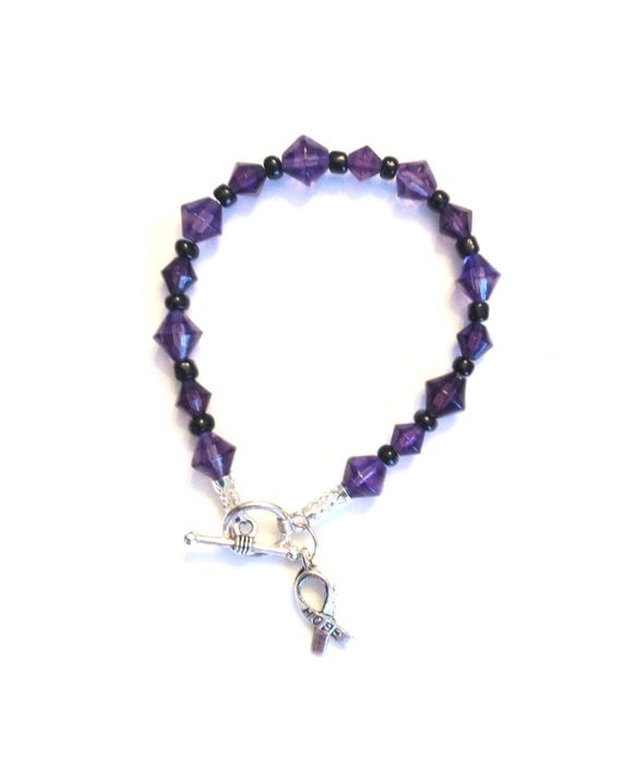 fibro bracelet purple fibromyalgia awareness bracelet with ribbon charm 193